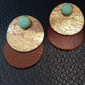 Aged leather earrings